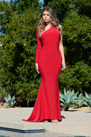 Red One Shoulder Fishtail Maxi Dress