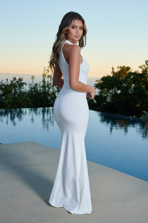 White High Neck Cold Shoulder Crepe Maxi Dress