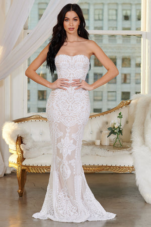 White Baroque Sequin Bandeau Maxi Dress