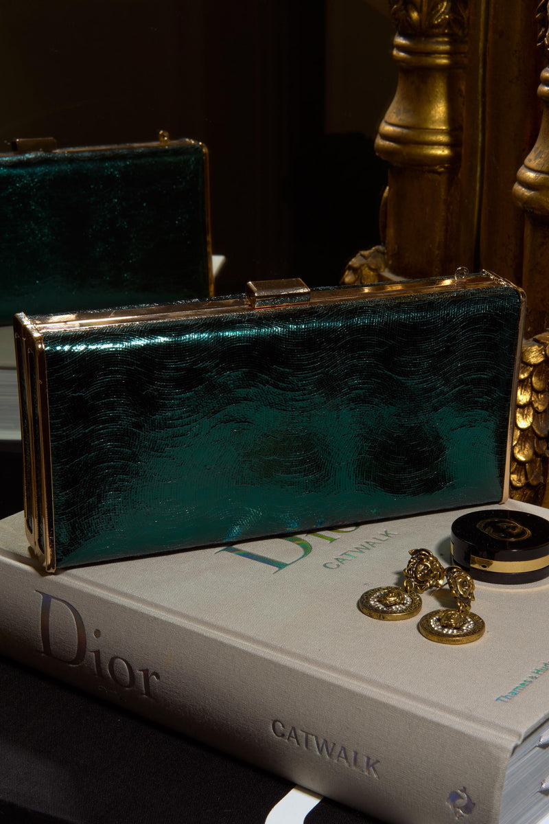 Emerald Green Abella Clutch - Club L London