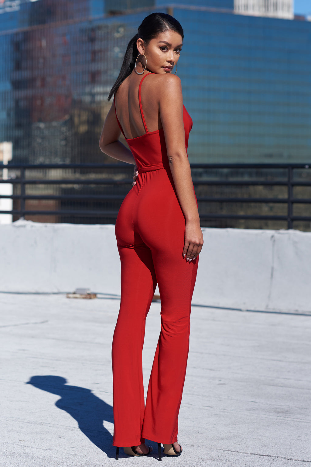 Red Cowl Neck Jumpsuit