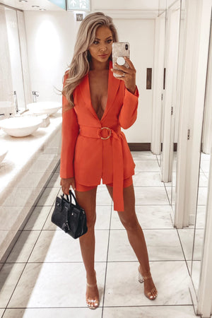 Coral Belted Blazer - Club L London