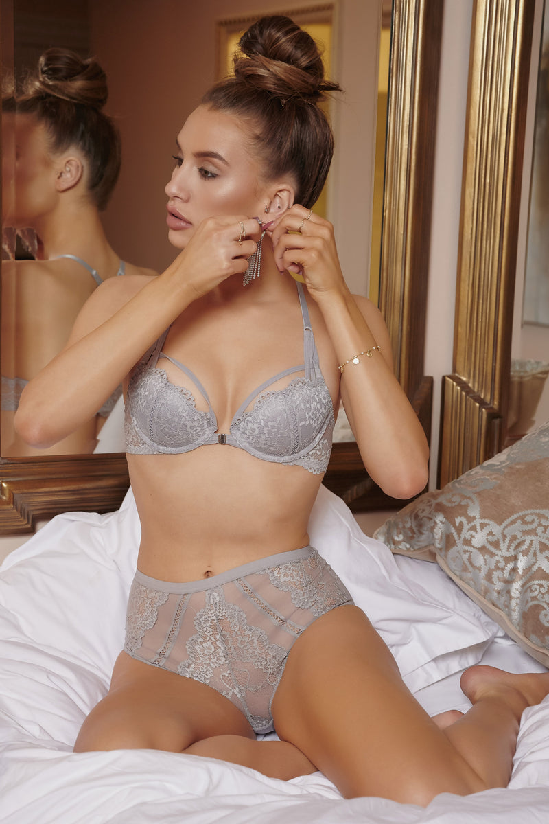 Grey Lace Pair Up Lingerie Set - Club L London