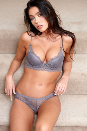 Grey Lace Go Girl Lingerie Set - Club L London