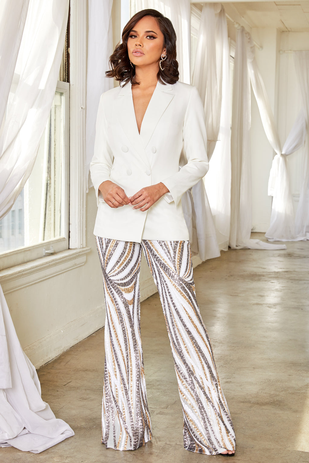 White Sequin Kick Flare Trousers - Club L London