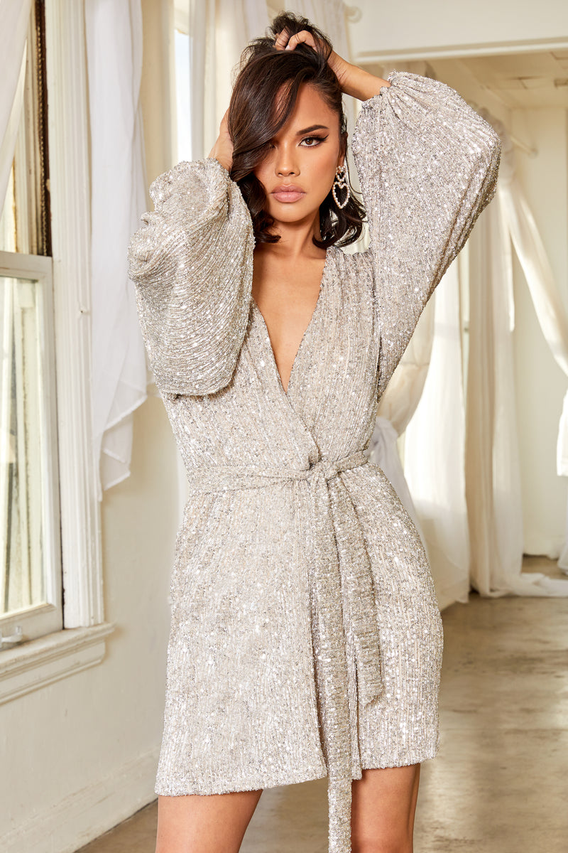 Silver Sequin Long Sleeve Wrap Belted Mini Dress - Club L London