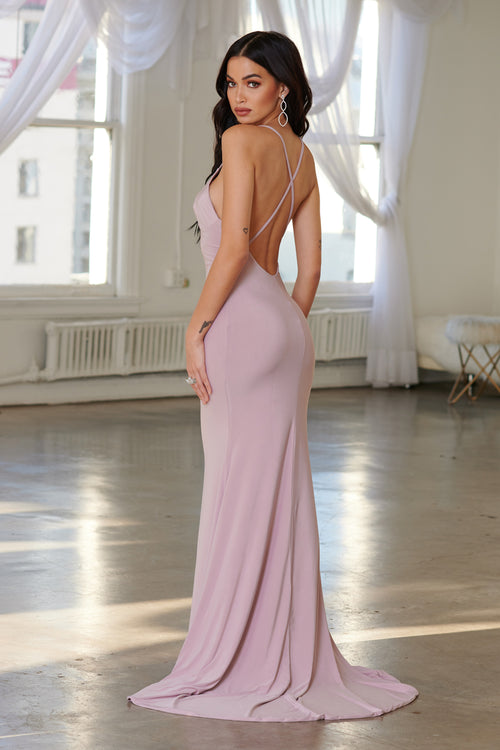 d763baecd2 Mauve Cross Back Fishtail Maxi Dress