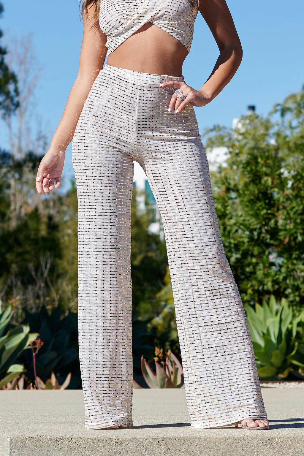 Cream Gold Mirror Sequin Wide Leg Trousers