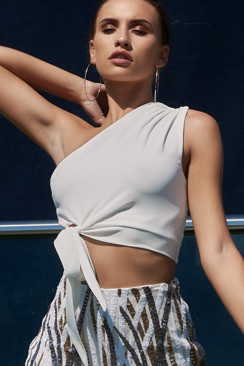 White One Shoulder Knotted Crop Top
