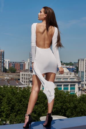 White Jersey Backless Drape Mini Dress