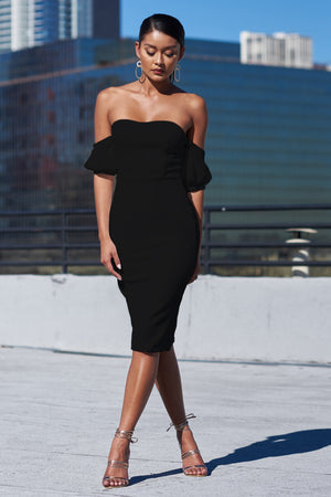 Black Bardot Tailored Midi Dress - Club L London
