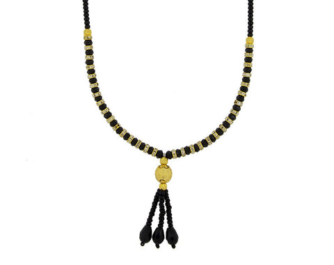 indian designer black beads cz gold plated necklace chain mangalsutra for women