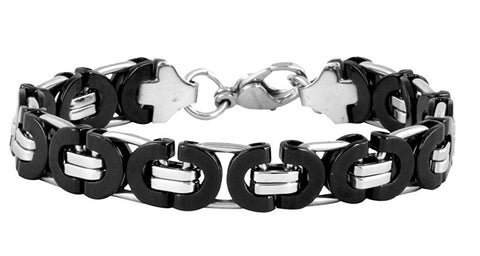 316L Stainless Steel Black Byzantine Bracelet For Men