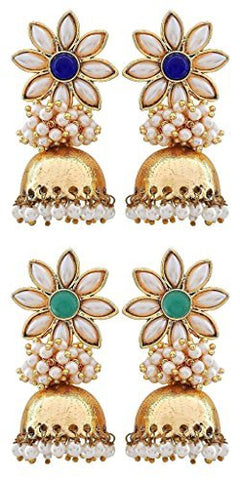 Flower 18K Gold Plated Blue Pearl Jhumki Earring For Women