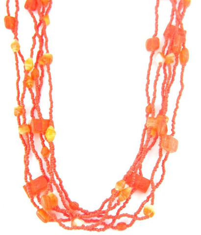 Bright Orange Beaded 3 Layered Strand Necklace For Women