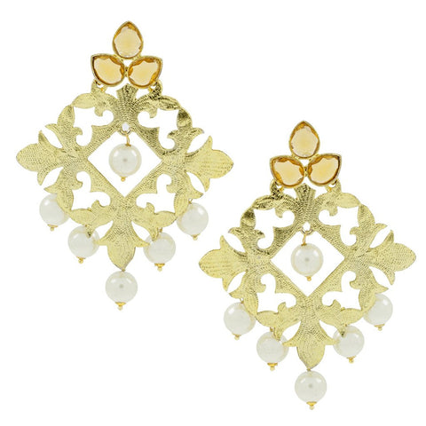 Statement Large Filigree Flower Pearl Antique Gold Chandelier Earring