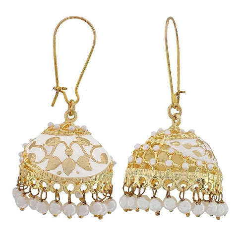 Flower Gold Plated White Meenakari Jhumki Earring For Women