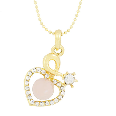 Heart 18K Gold Plated Cz Pearl Necklace Pendant Chain Set Girls