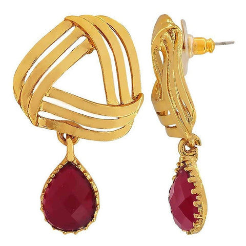 Filigree Flower Gold Maroon American Diamond Dangling Earring Women