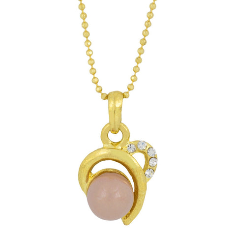 Heart Love 18K Gold Cz Pearl Necklace Pendant Chain