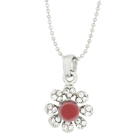 Flower Cz Silver Pearl Pendant Chain Necklace Combo