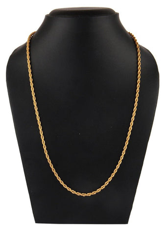 22K Gold Plated 316L Stainless Steel Classic Rope Chain 21.7""