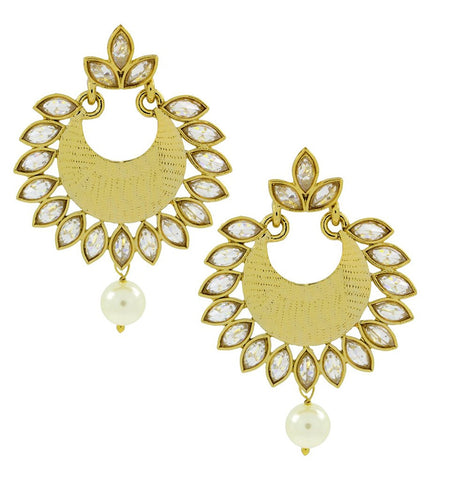 Chandbali Pearl Kundan American Diamond Antique Gold Earring