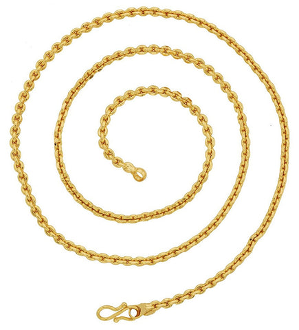 "Rugged Anchor 22K Gold Plated 25"" Chain For Men Women"