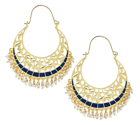 Filigree Chaand Bali Antique Gold Blue Meena Hoop Earring For Women