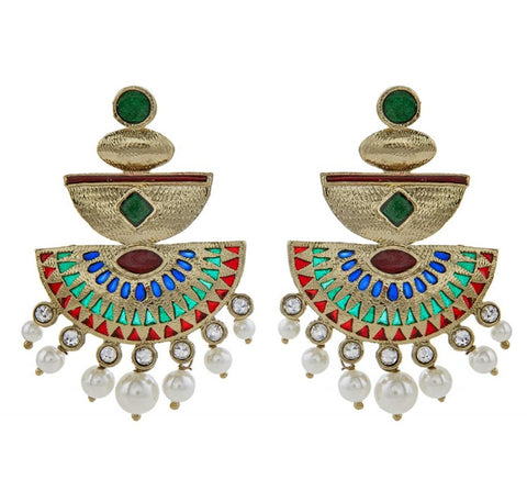 Red Green Antique Gold Plated Meenakari Pearl Earring For Women
