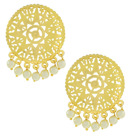Large Statement Filigree Pearl 18K Gold Plated Stud Earring