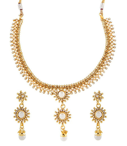 Gold Plated Pearl Temple Antique Traditional Necklace Earring Set