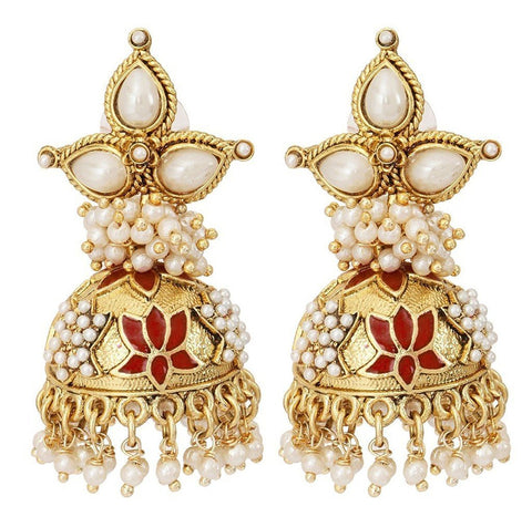 Maroon Meenakari Lotus Pearl Jhumki Earring For Women