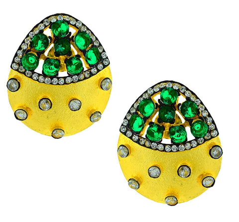 Indo-Western Emerald Green American Diamond Cz Gold Stud Earring