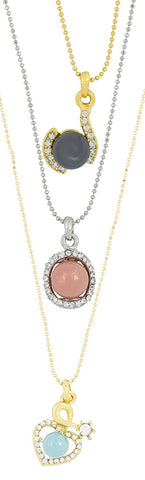 Trendy Rhodium Plated Cz Pearl Necklace Pendant Chain Set Girls