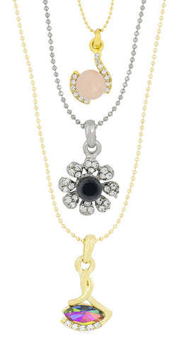Rainbow 18K Gold Plated Cz Necklace Pendant Chain Set Girls