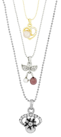 Enamel Flower Rhodium Plated Cz Pearl Necklace Pendant Chain