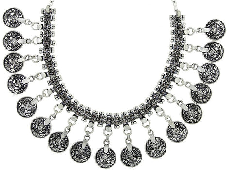 Tribal Oxidized German Antique Silver Ginni Coin Choker Necklace
