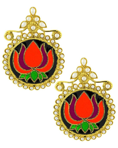 Statement Large Lotus Flower Pink Green Orange Black Stud Earring