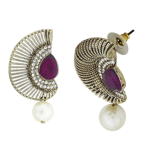 Filigree Crescent Antique Rhodium Purple Cz Pearl Earring For Women