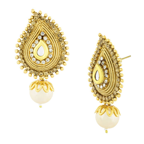 Traditional Kundan Cz Gold Plated Stud Dangle Drop Earring For Women