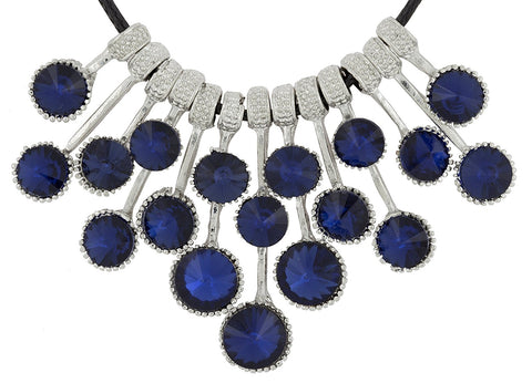 Grape Floral Blue Crystal Silver Plated Necklace For Girls Women