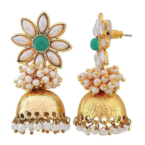 Flower 18K Gold Plated Green Pearl Jhumki Earring For Women