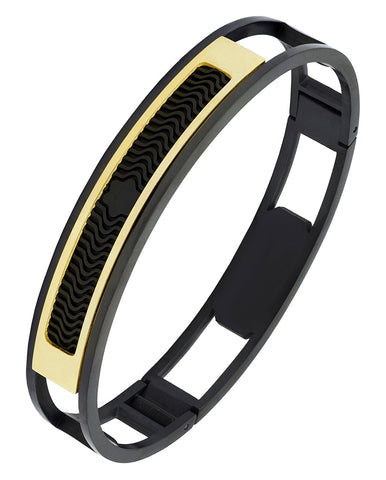 18K Gold Black Stainless Steel Kada Bangle Bracelet Men