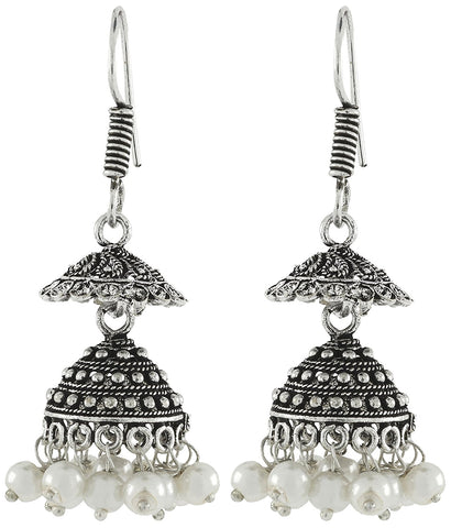 tribal bohemian pearl oxidized german silver plated bass necklace earring combo for women
