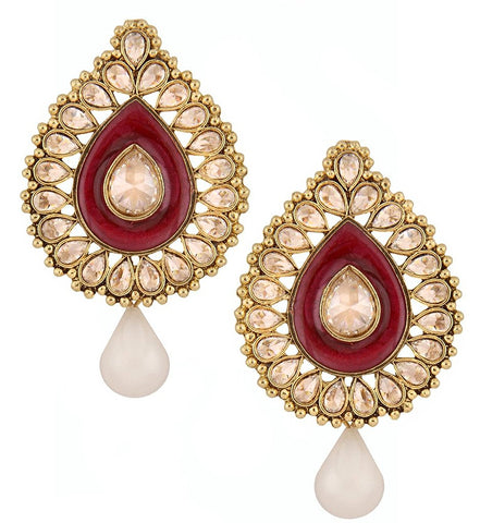 Red Meenakari Enamel Kundan Gold Plated Pear Drop Ethnic Stud Earring For Women