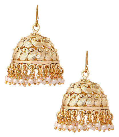 18K Antique Gold Plated Matte Finish Pearl Jhumki Earring For Women