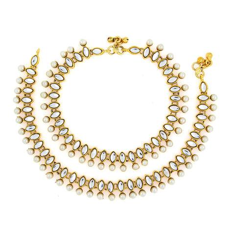 Bridal antique traditional pearl kundan look payal anklet pair 30cm