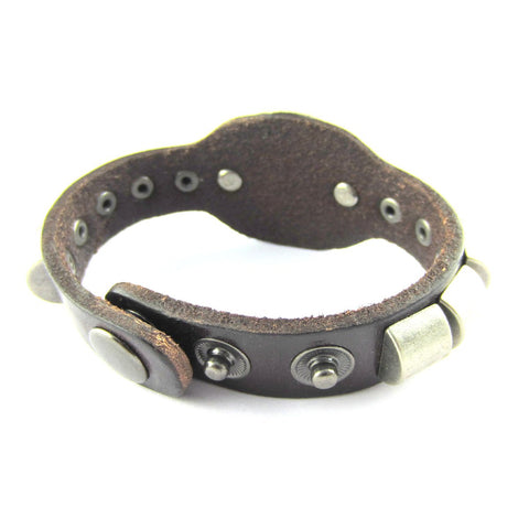 Men Biker Black Bullet Strand Leather Stylish Bracelet Strap Free Size