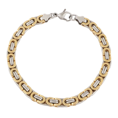 18K Gold Plated 3 Dimensional Sleek Byzantine Bracelet For Men